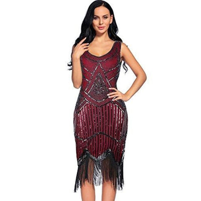Vintage 1920S Sequin Beaded Tassels Hem Flapper Dress Back To Flapper Girl Store