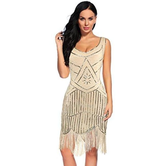 Vintage 1920S Sequin Beaded Tassels Hem Flapper Dress Small / Beige Back To Flapper Girl Store