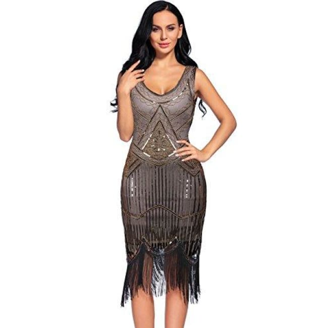 Vintage 1920S Sequin Beaded Tassels Hem Flapper Dress Small / Beige+Gold Back To Flapper Girl Store