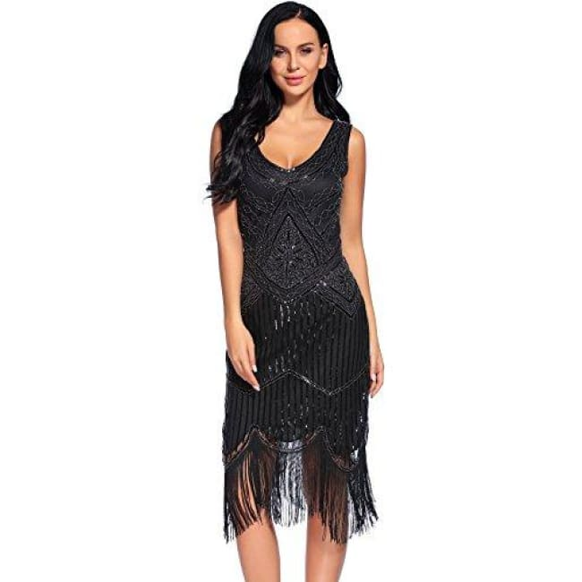 Vintage 1920S Sequin Beaded Tassels Hem Flapper Dress Small / Black Back To Flapper Girl Store