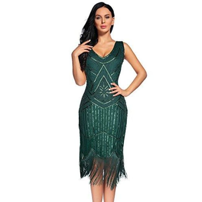 Vintage 1920S Sequin Beaded Tassels Hem Flapper Dress Small / Blackish Green Back To Flapper Girl Store