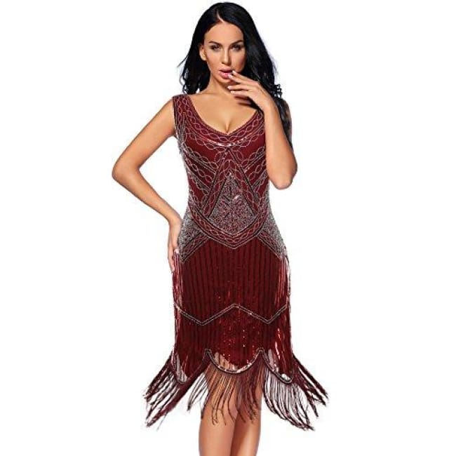 Vintage 1920S Sequin Beaded Tassels Hem Flapper Dress Small / Darkred Back To Flapper Girl Store