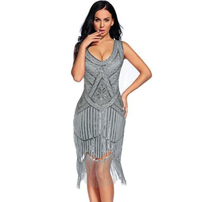 Vintage 1920S Sequin Beaded Tassels Hem Flapper Dress Small / Grey Back To Flapper Girl Store