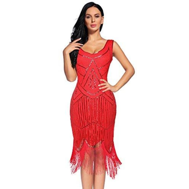 Vintage 1920S Sequin Beaded Tassels Hem Flapper Dress Small / Red Back To Flapper Girl Store