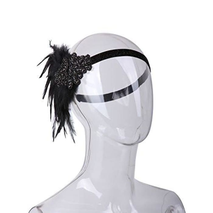 Vintage Black Feather Silver 20S Headpiece 1920S Flapper Headband Back To Results