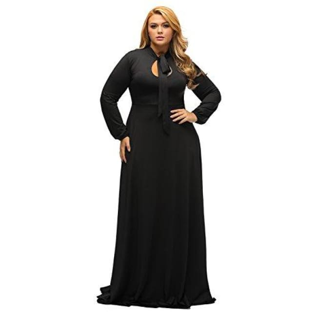 Sainaluv Vintage Long Sleeve Plus Size Evening Party Maxi Dress Gown