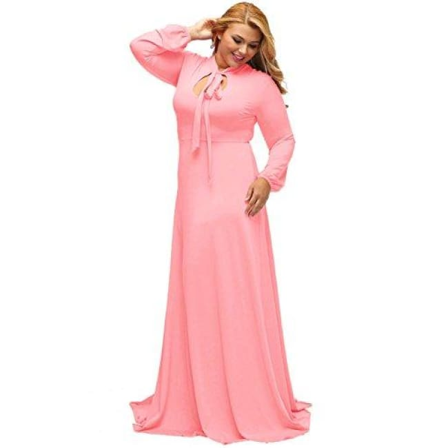 Sainaluv - Vintage Long Sleeve Plus Size Evening Party Maxi Dress Gown