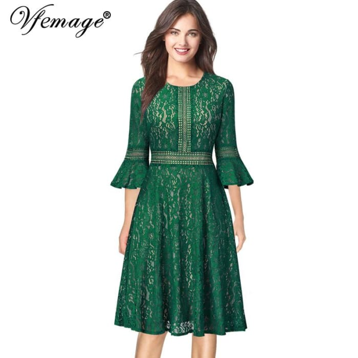 7d4fdb0b1ce478 Vintage Retro Full Floral Lace 3 4 Flare Bell Sleeve dress – Sainaluv