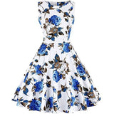 Vintage Tea Dress 1950S Floral Spring Garden Retro Swing Prom Party Cocktail Dress Small / 24-White Blue Rose Cocktail