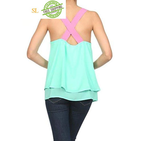 Vizio Mint Double Layer Blouse