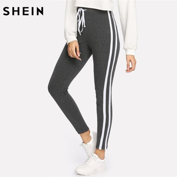Waist Casual Womens Pants Striped Sweatpants