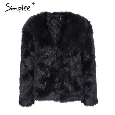 Warm Rabbit Fur Faux Fur Coat Women Black / S