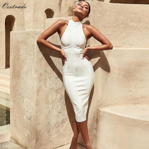 White Bandage Dress High Quality Bandage Dress Rayon Dresses