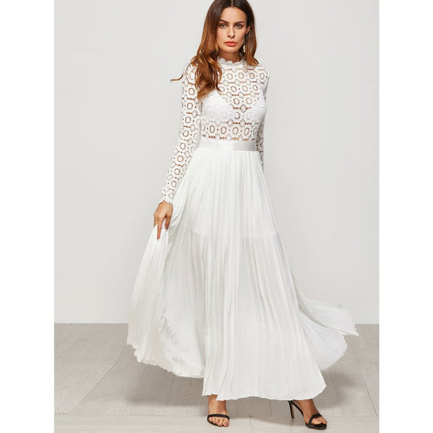 White Eyelet Embroidered Lace Top Split Pleated Dress Dresses