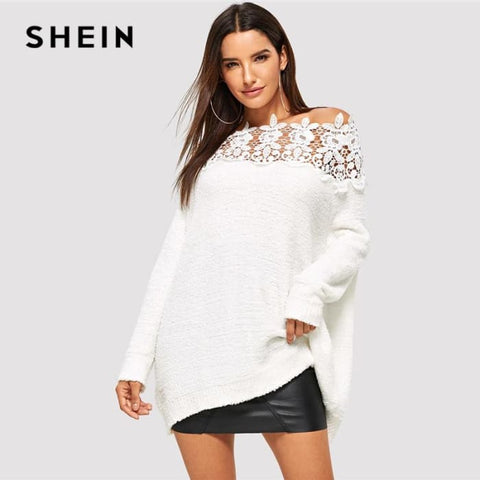 White Floral Lace Insert Solid Sweater Elegant Casual Oversized Sweaters