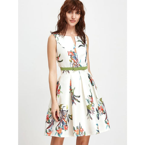 White Floral Sleeveless Open Back A Line Dress Dresses