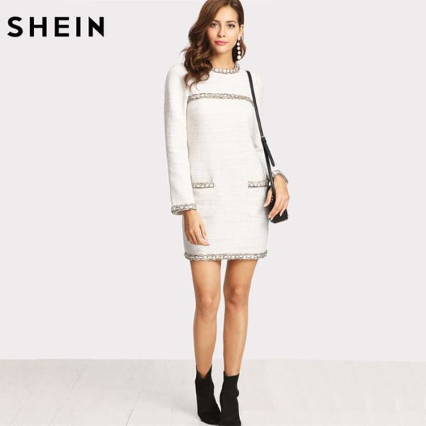 White Long Sleeve Pockets Straight Dress