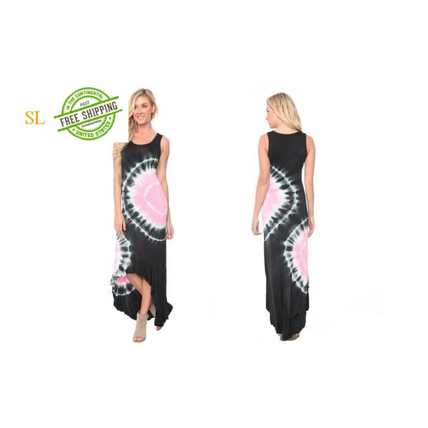 White Mark Martina Womens Tie Dye Maxi Dress