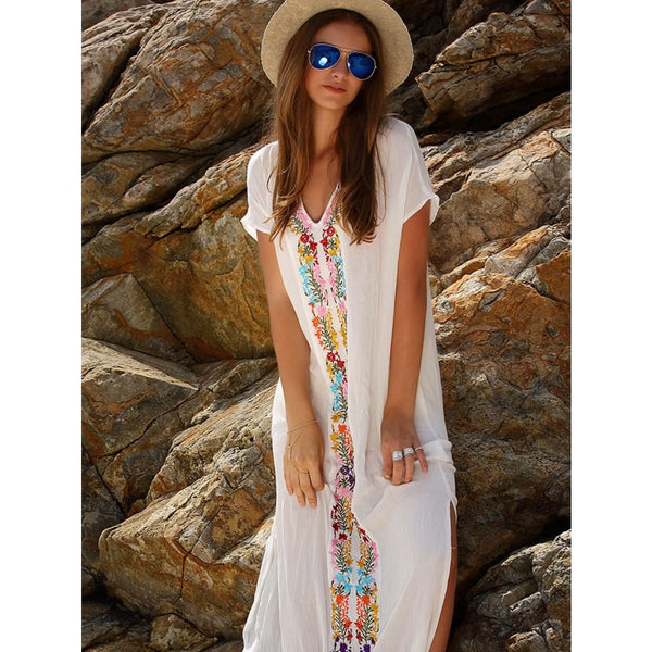 White Placement Print Split Side Maxi Dress Dresses