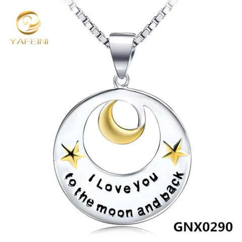 Wholesale Genuine 925 Sterling Silver Disk Necklace Fine Jewelry Star And Moon Charms Necklace Love Jewelry 18Inches Gnx0290 Necklaces