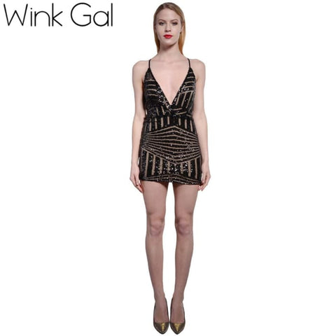 Wink Gal Summer Style Sexy Ladies Dress Backless Club Dresses Prom Gold Sequin Clothing Women 3125 Black / Xs Dresses
