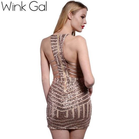Wink Gal Summer Style Sexy Ladies Dress Backless Club Dresses Prom Gold Sequin Clothing Women 3125 Dresses