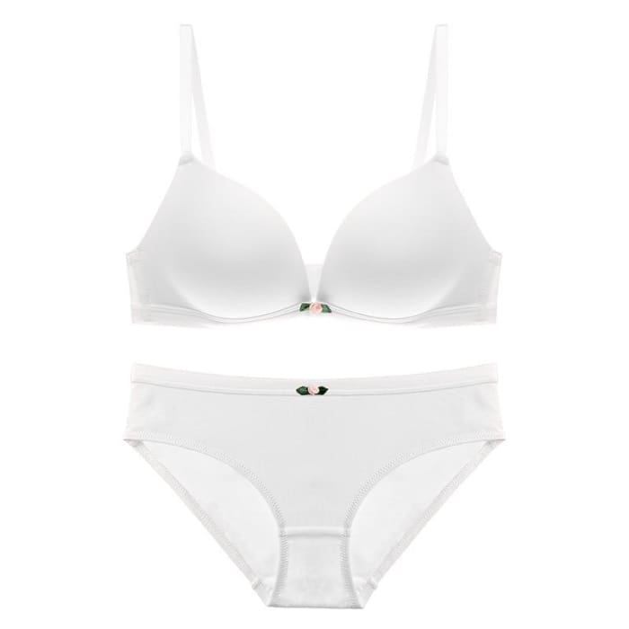 f5a4f5f54aab5 ... Wire Free One-Piece Seamless Bra With Lace Butterfly Backless Bra Panty  Set ...