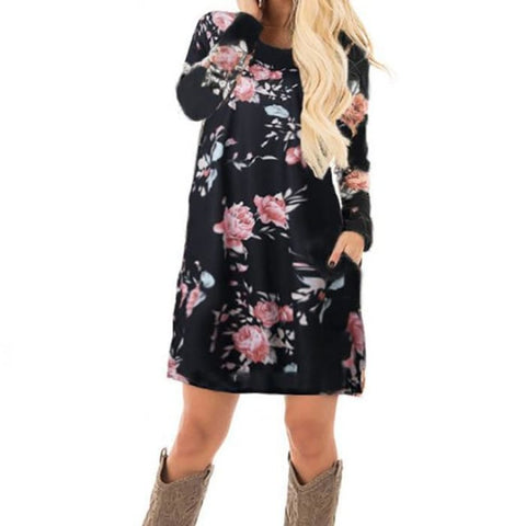 Women Autumn Floral Printed Dress Female Long Sleeve Mini Dresses Black Floral Printed / S Dresses