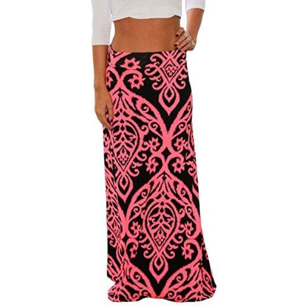 53d61a8c6f Women Coral Print Long Maxi Skirt (8 Colors And Design Print) Small / Pink