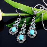 Women Jewellery Tibetansilver-Color Cz Crystal Chain Pendant Necklace Earrings Set Round Jewelry Sets