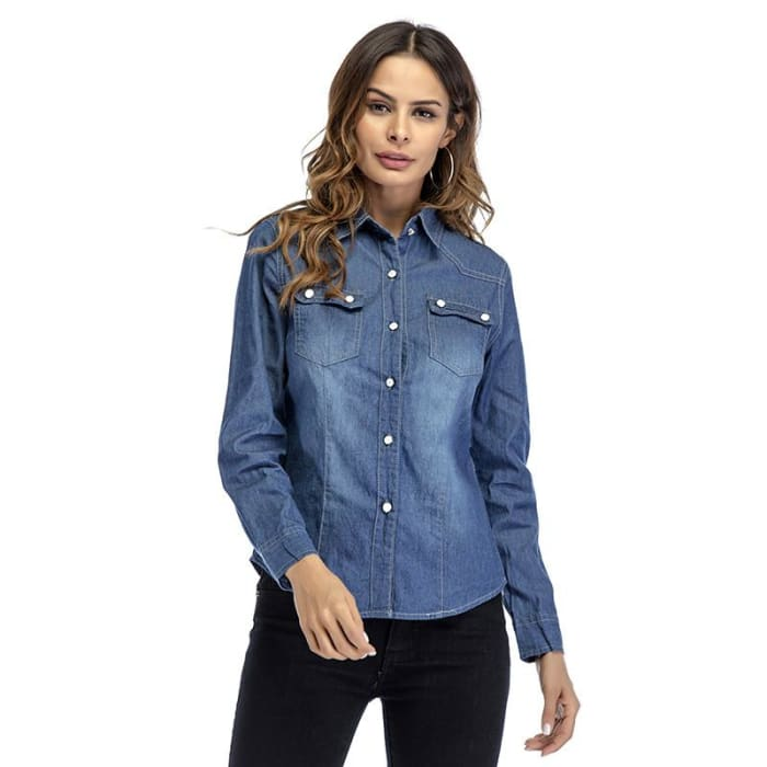 8fe9114c Women Long Sleeved Polo Shirts Casual Button-Up Tops Spring Denim Dress Shirt  Blouse S