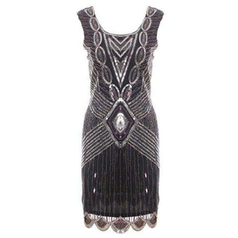 Womens 20S Embellished Vintage Inspired Dress Beaded Gatsby Flapper Dress Back To Results