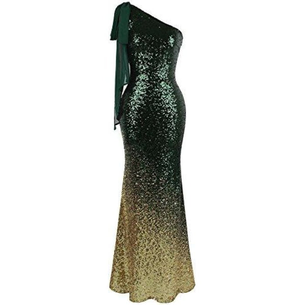 Womens Asymmetric Ribbon Gradient Sequin Mermaid Long Prom Dress Small / Green Gold Dresses