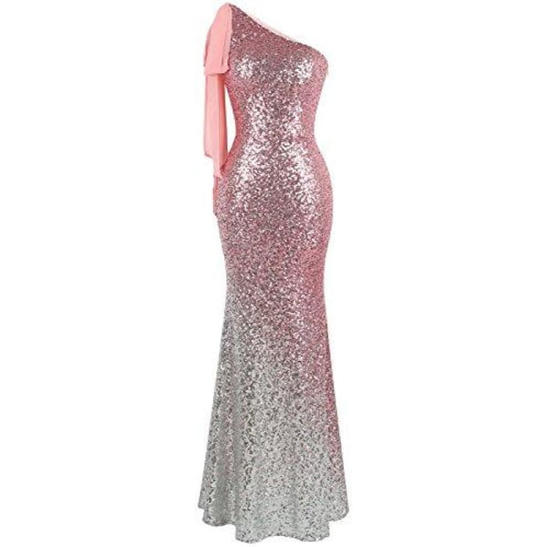 Womens Asymmetric Ribbon Gradient Sequin Mermaid Long Prom Dress Small / Pink Silver Dresses
