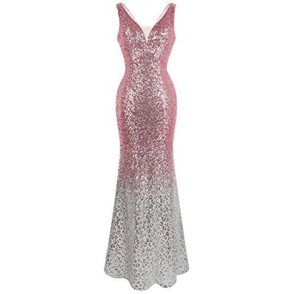 Womens Asymmetric Ribbon Gradient Sequin Mermaid Long Prom Dress Small / V Neck Pink Silver Dresses