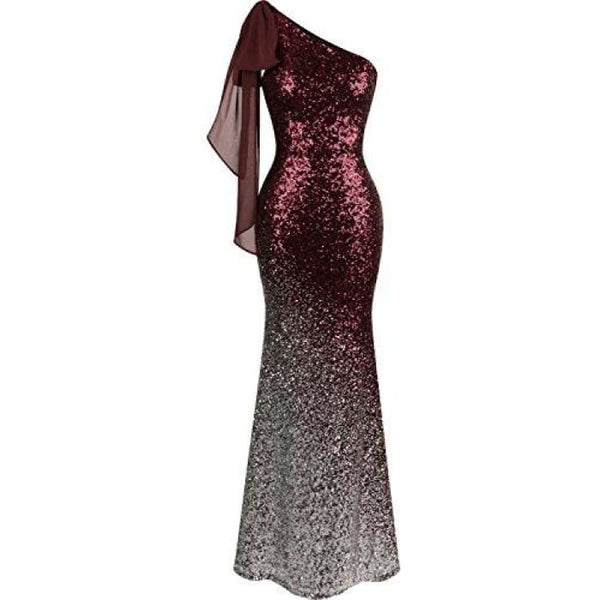 Womens Asymmetric Ribbon Gradient Sequin Mermaid Long Prom Dress Small / Wine Red Dresses