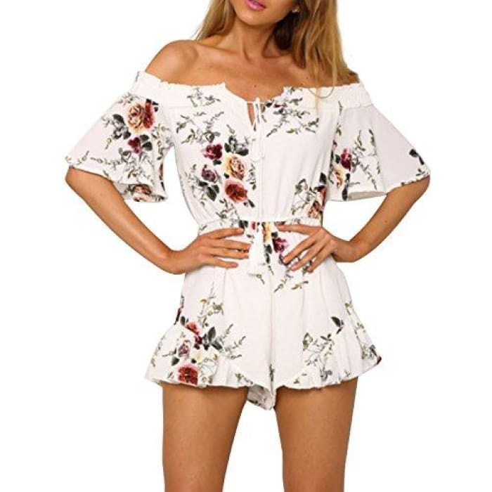 596f8ceacd Womens Boho Off Shoulder Floral Print Romper Tassel Chiffon Jumpsuit  Playsuit White ...