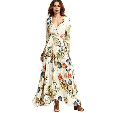 Womens Button Up Split Floral Print Party Maxi Dress X-Small   Beige Yellow 269e7242a