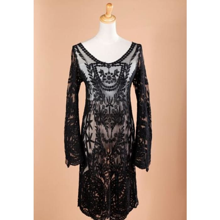 730c4f6cf3ecce ... Womens Clothing Lady Semi Sexy Sheer Sleeve Loose Blouse Tops  Embroidery Floral Lace Crochet Dress Dresses ...