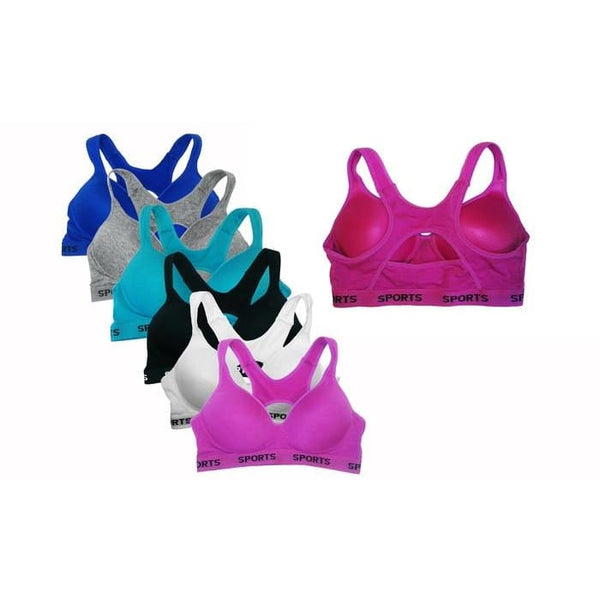 Womens Cotton Padded Sports Bras In Regular And Plus Sizes (6-Pack)