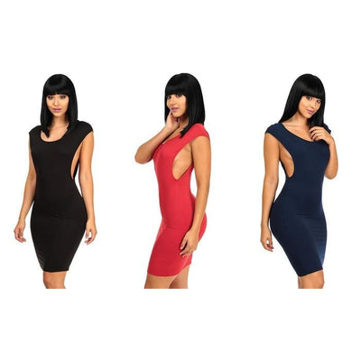Womens Cut Sides Bodycon Midi Dresses