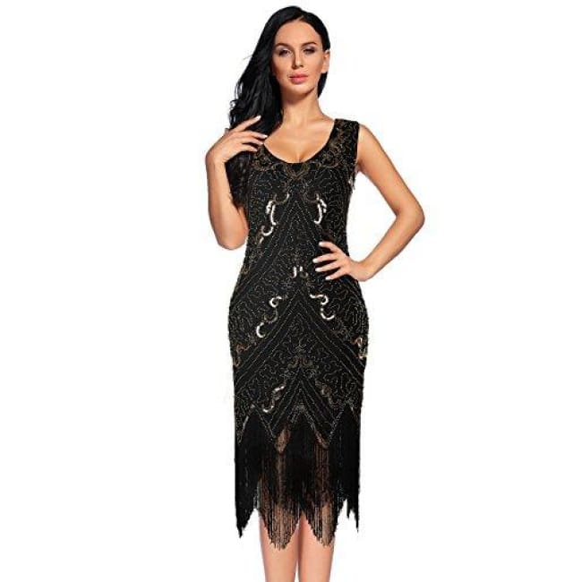 cbf17077afa41 ... Womens Flapper Dress 1920S Sequin Fringed Great Gatsby Dress Small / Black  Gold Back To Results