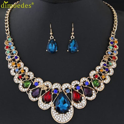 Womens Jewellery Mixed Style Bohemia Color Bib Chain Jewelry Sets