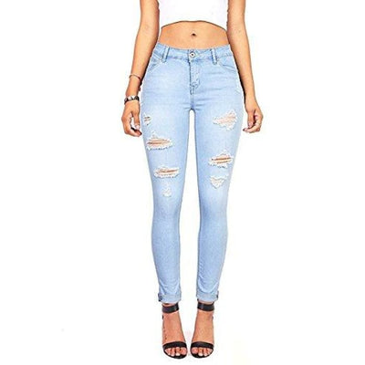 Womens Juniors Distressed Slim Fit Stretchy Skinny Jeans Jeans