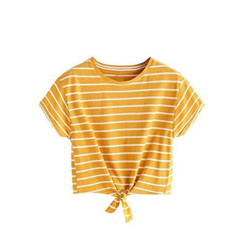 Womens Knot Front Cuffed Sleeve Striped Crop Top Tee T-Shirt Knits & Tees