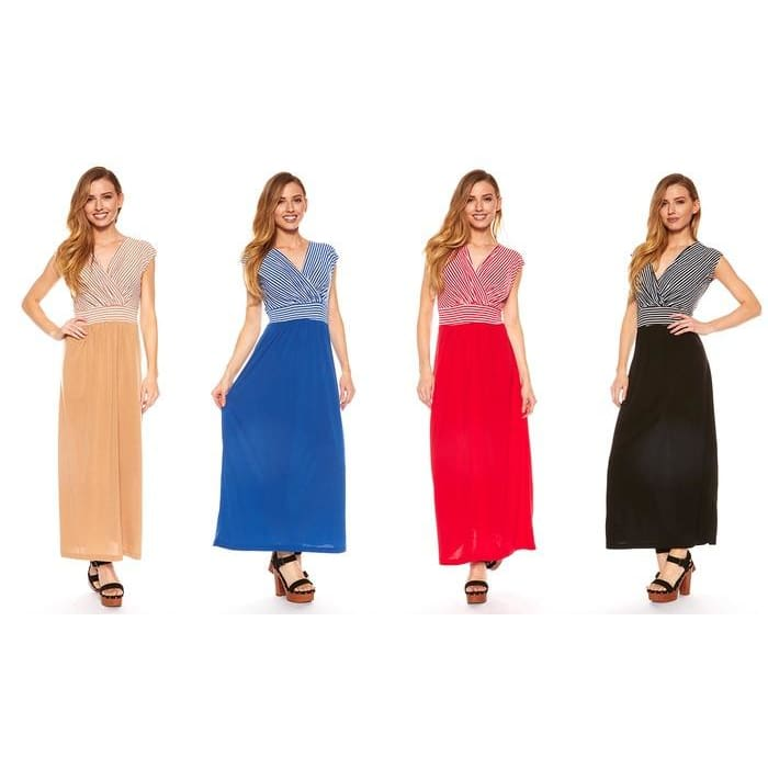 Womens Plus Size Color Block Maxi Dress