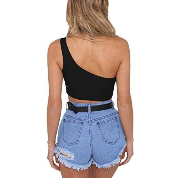 Womens Sleeveless Crop Tops Sexy Strappy Tees