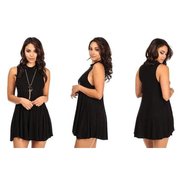 Womens Sleeveless Mock-Neck Dress