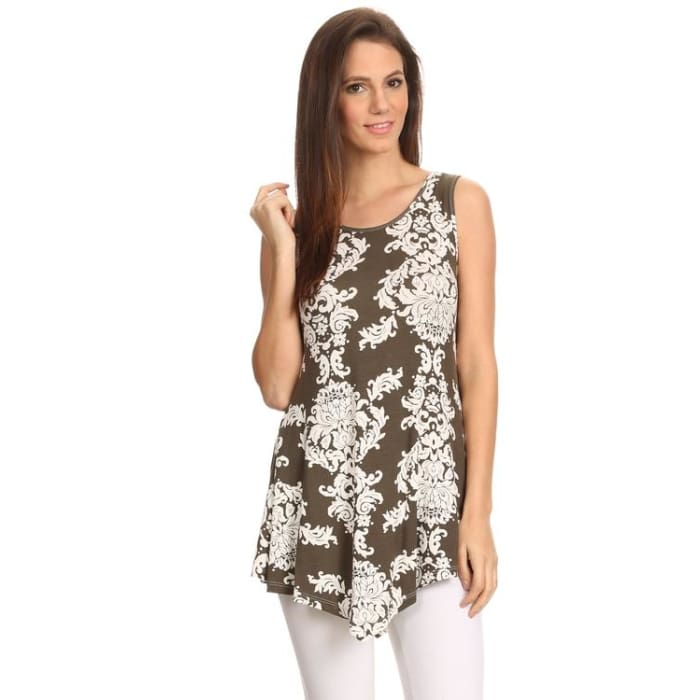 Womens Sleeveless Printed Shirt Handkerchief Hem Womens Clothing