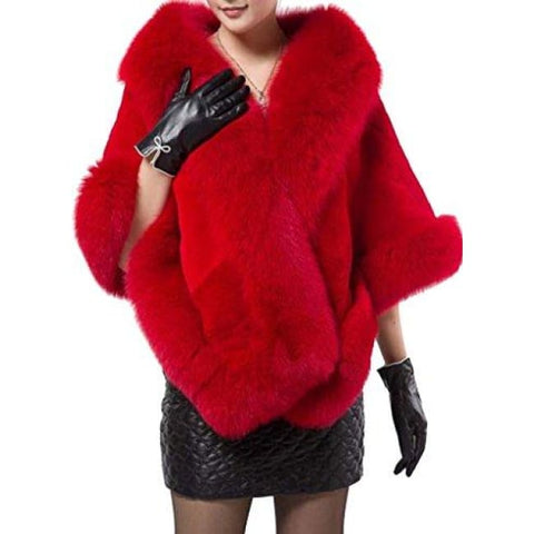 Womens Soft Long Faux Fox Fur Shawl Fur & Faux Fur